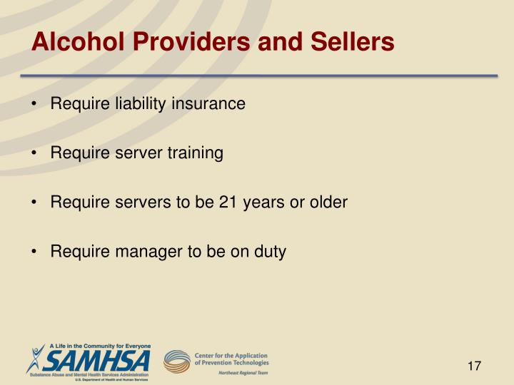 Alcohol Providers and Sellers