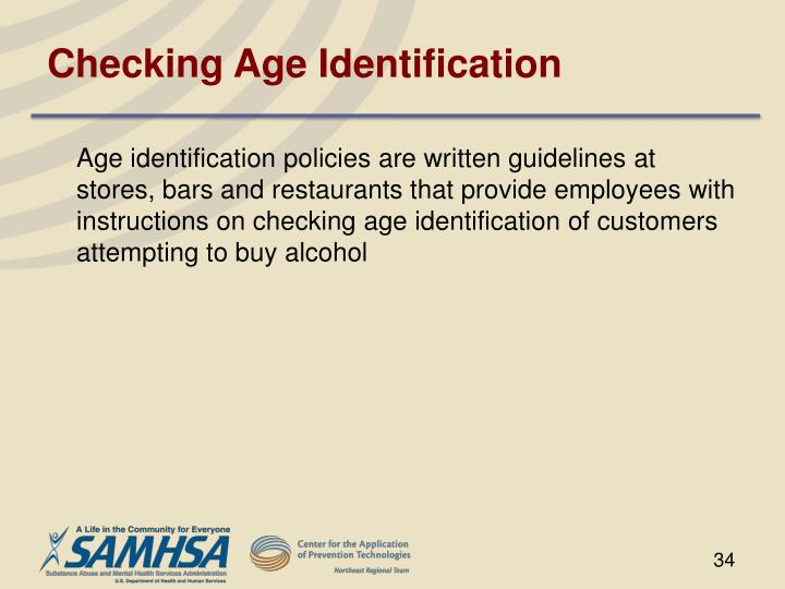 Checking Age Identification