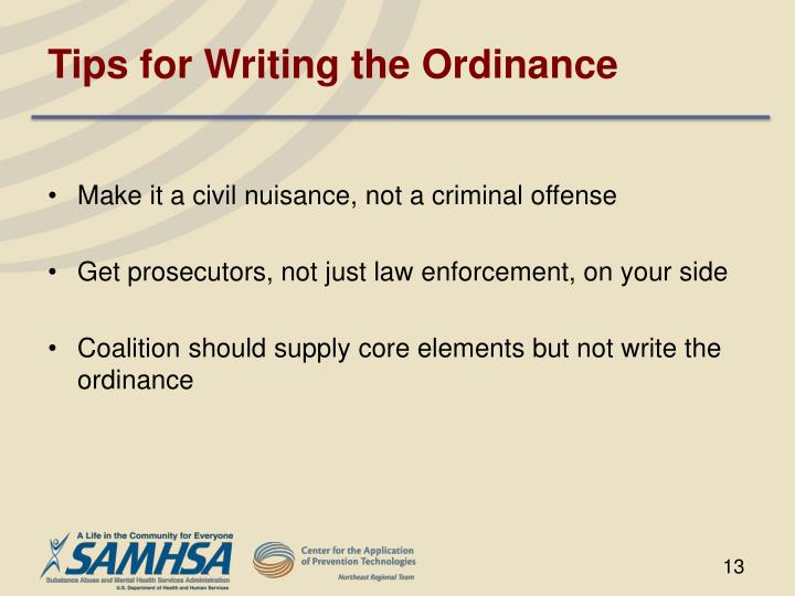 Tips for Writing the Ordinance