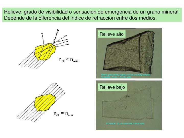 Relieve: grado de visibilidad o sensacion de emergencia de un grano mineral.