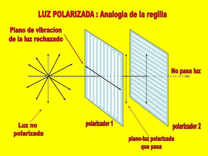 LUZ POLARIZADA : Analogia de la regilla