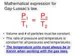 mathematical expression for gay lussac s law