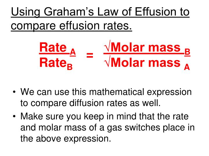 Using Graham's Law of Effusion to compare effusion rates.