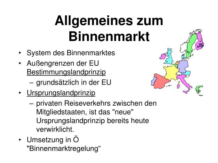 Allgemeines zum Binnenmarkt