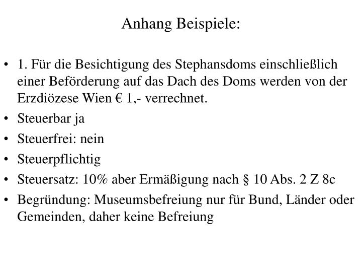 Anhang Beispiele: