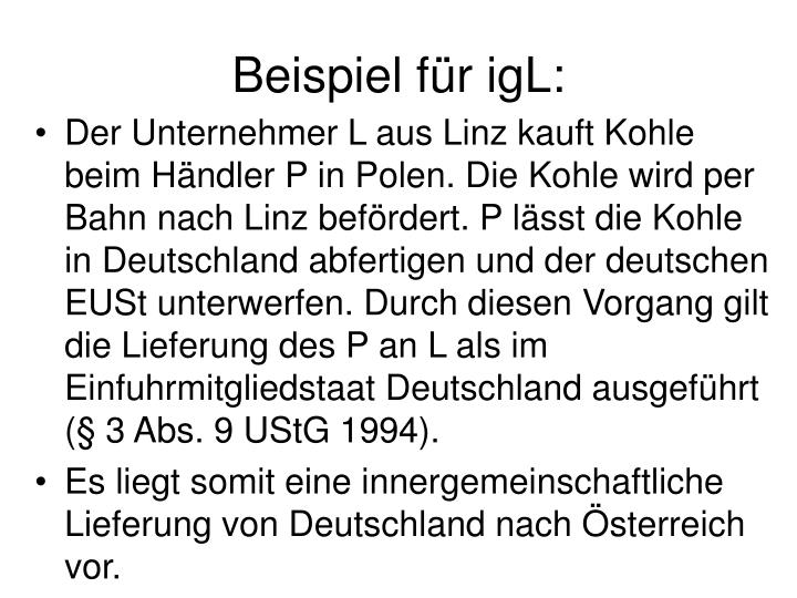 Beispiel fr igL: