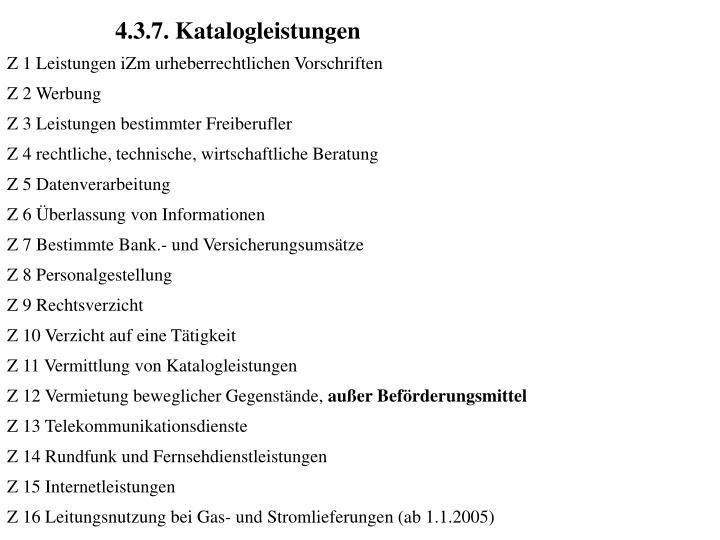 4.3.7. Katalogleistungen
