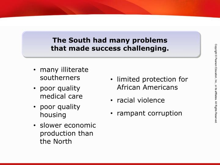 The South had many problems