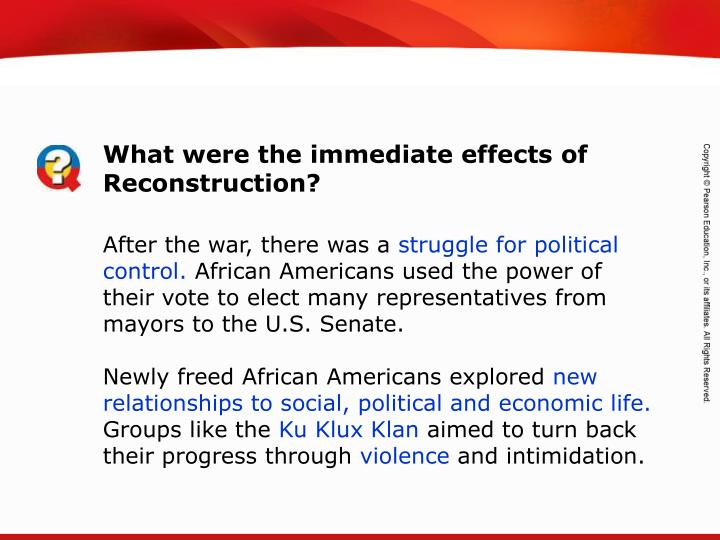 What were the immediate effects of Reconstruction?