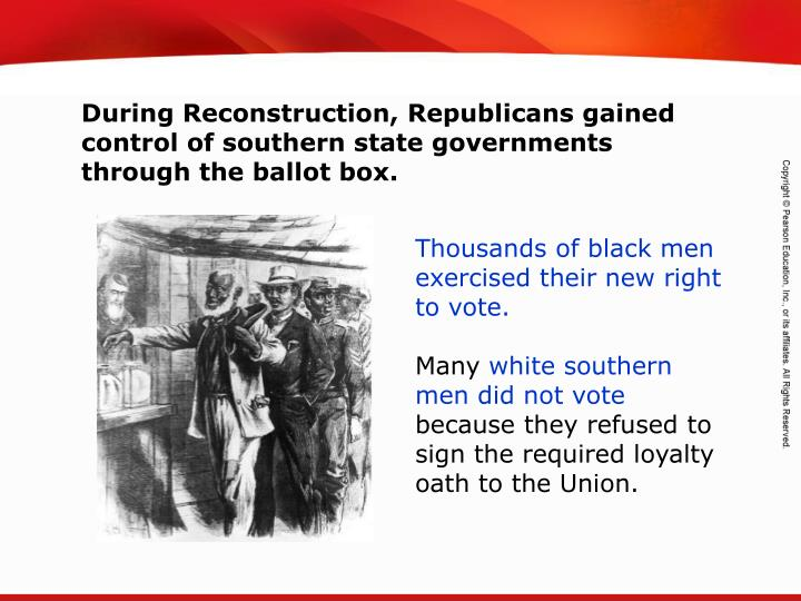During Reconstruction, Republicans gained control of southern state governments through the ballot box.