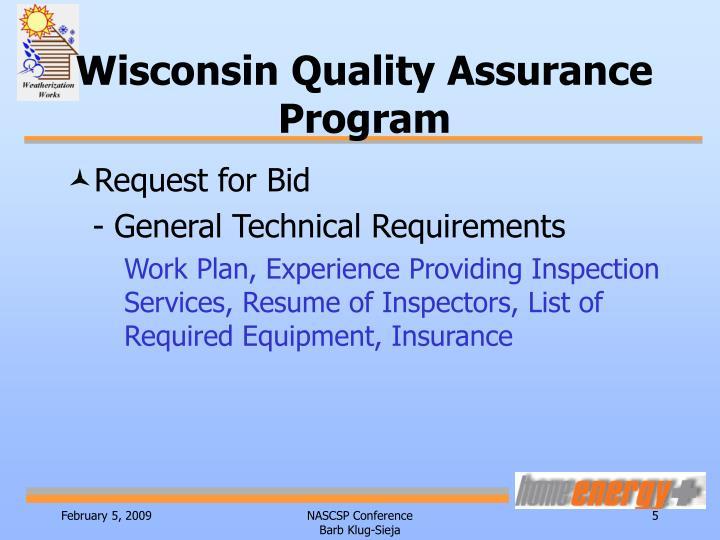 Wisconsin Quality Assurance Program