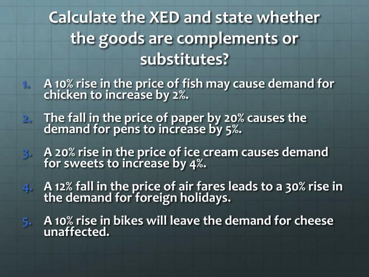 Calculate the XED and state whether the goods are complements or substitutes?