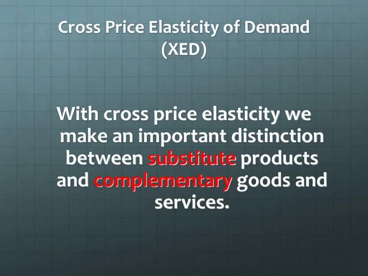 Cross Price Elasticity of Demand (XED)