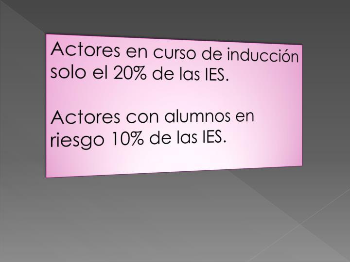 Actores en curso de inducción  solo el 20% de las IES.