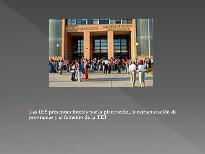 Las IES presentan interés por la planeación, la estructuración de programas y el fomento de la TEI