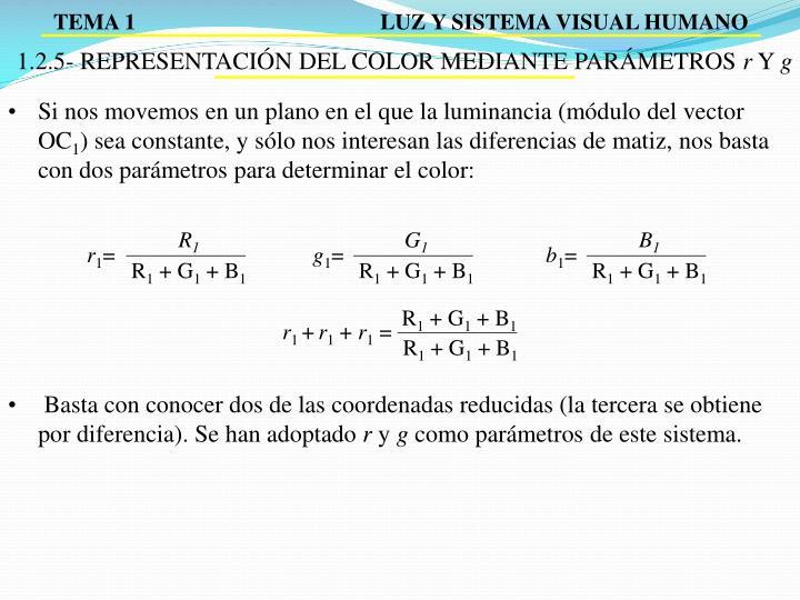 1.2.5- REPRESENTACIÓN DEL COLOR MEDIANTE PARÁMETROS