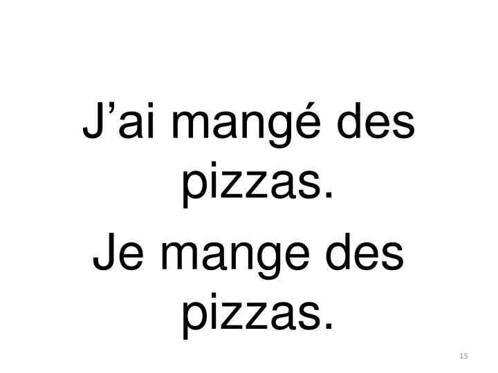 J'ai mangé des pizzas.