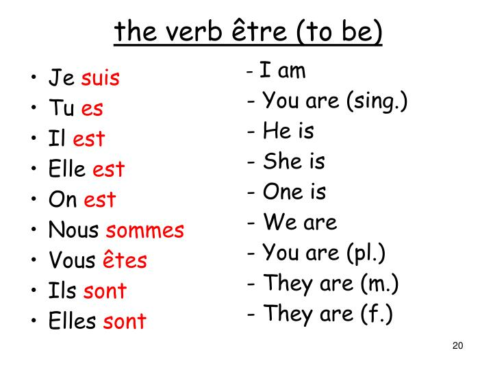 the verb être (to be)