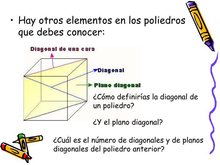 Hay otros elementos en los poliedros que debes conocer: