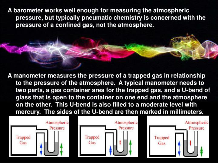 A barometer works well enough for measuring the atmospheric pressure, but typically pneumatic chemistry is concerned with the pressure of a confined gas, not the atmosphere.