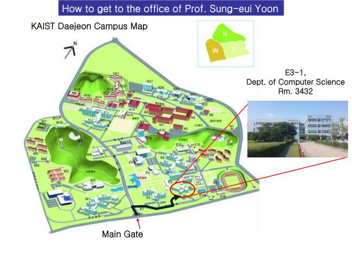 How to get to the office of Prof. Sung-eui Yoon