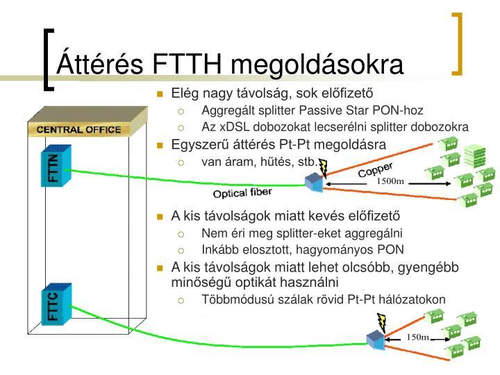 Áttérés FTTH megoldásokra