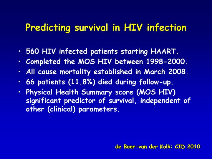 Predicting survival in HIV infection