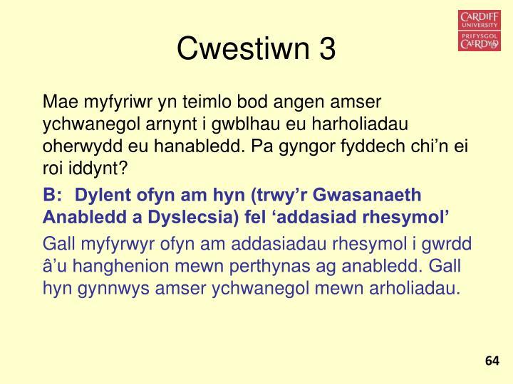 Cwestiwn 3