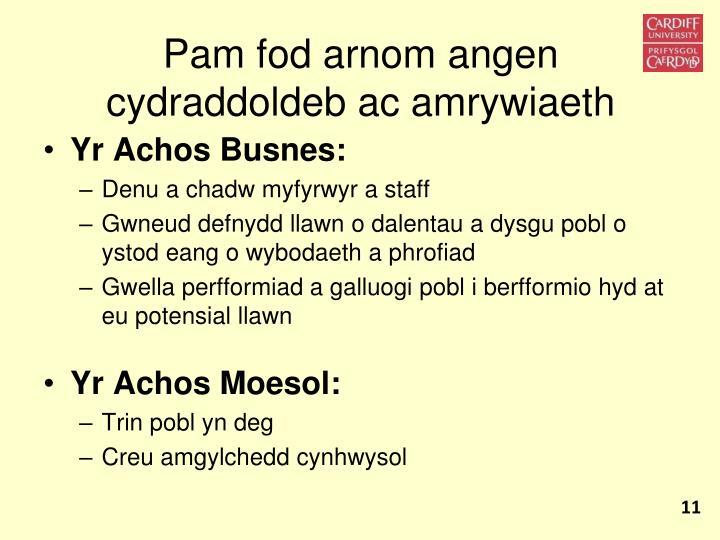 Pam fod arnom angen cydraddoldeb ac amrywiaeth