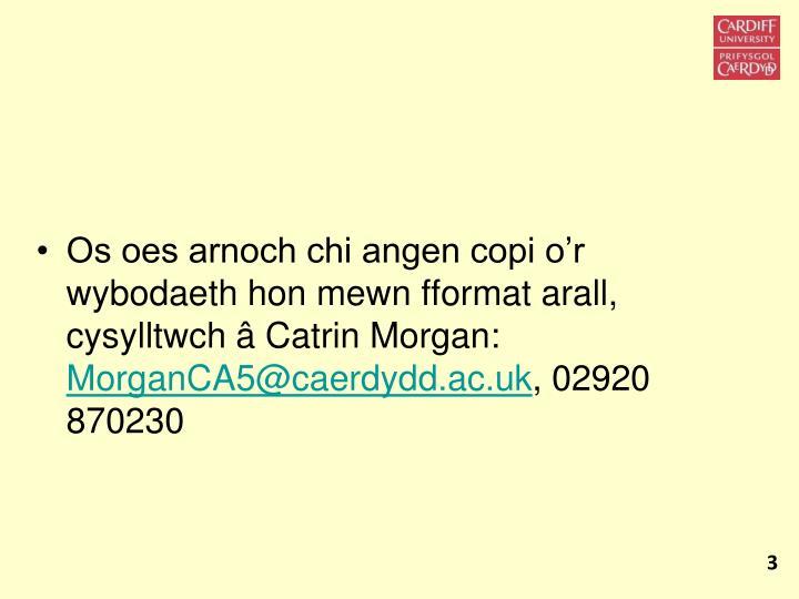 Os oes arnoch chi angen copi o'r wybodaeth hon mewn fformat arall, cysylltwch â Catrin Morgan: