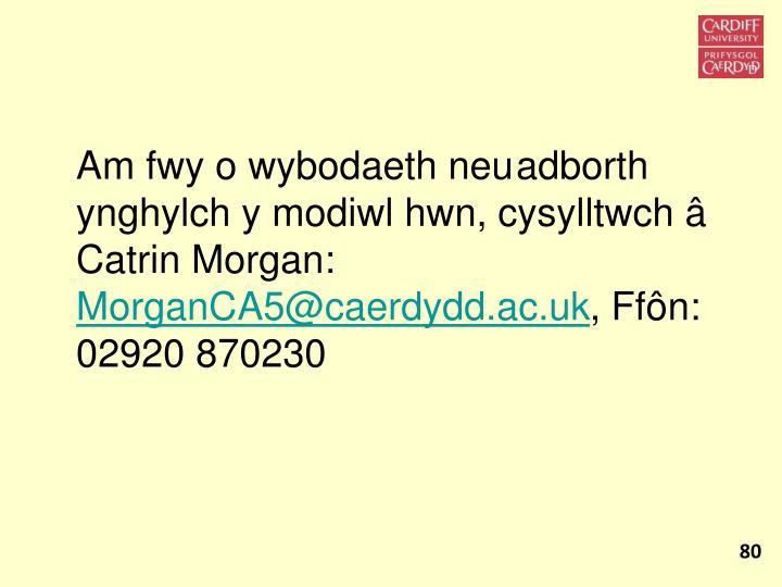 Am fwy o wybodaeth neuadborth ynghylch y modiwl hwn, cysylltwch â Catrin Morgan: