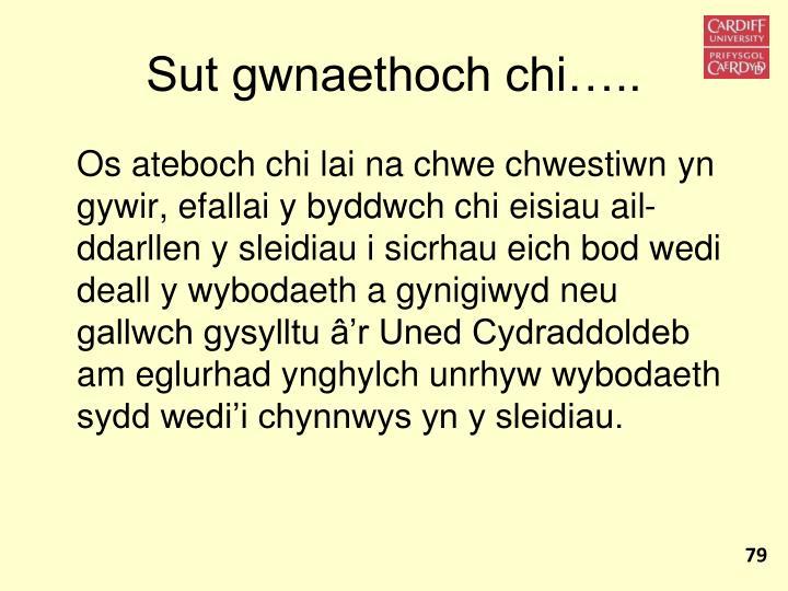 Sut gwnaethoch chi…..