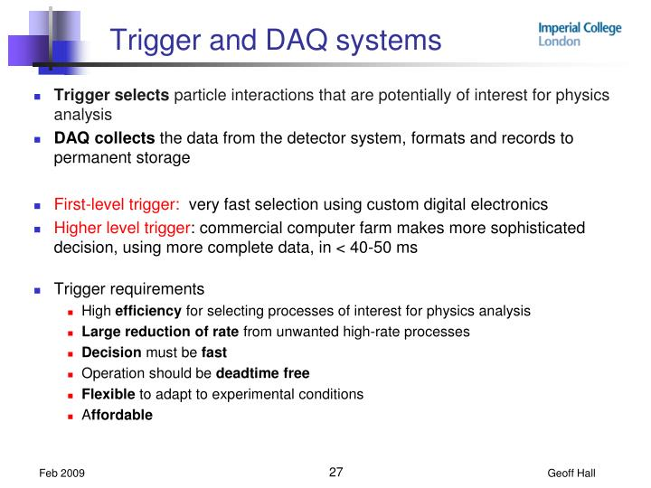 Trigger and DAQ systems