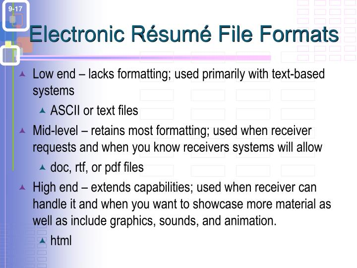 Electronic Résumé File Formats