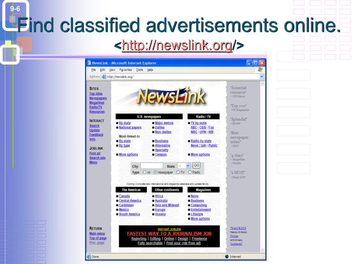Find classified advertisements online.