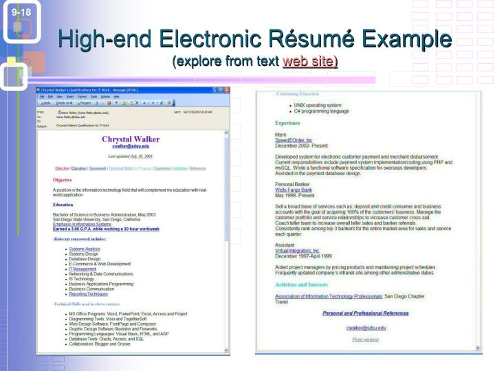 High-end Electronic Résumé Example
