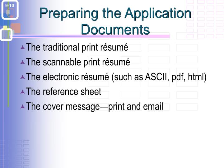 Preparing the Application Documents