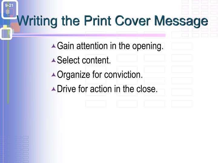 Writing the Print Cover Message