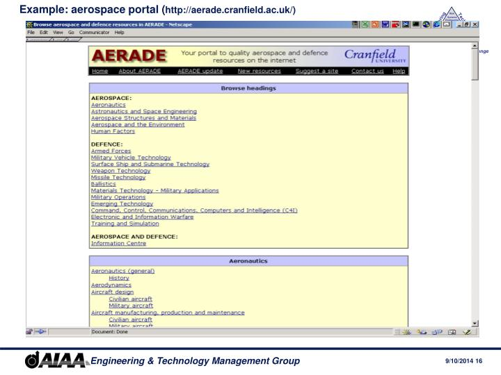 Example: aerospace portal (