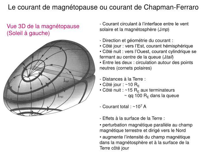 Le courant de magnétopause ou courant de Chapman-Ferraro
