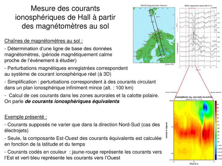 Mesure des courants ionosphériques de Hall à partir des magnétomètres au sol