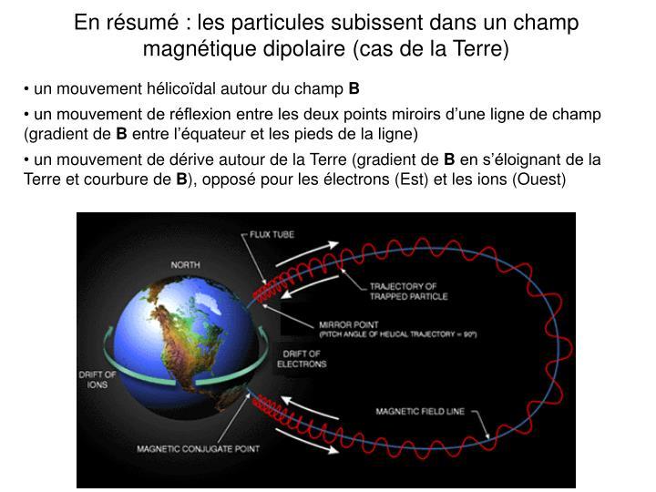 En résumé : les particules subissent dans un champ magnétique dipolaire (cas de la Terre)