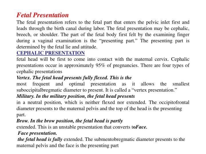 Fetal Presentation