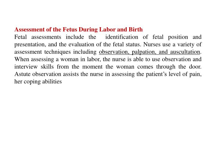 Assessment of the Fetus During Labor and Birth