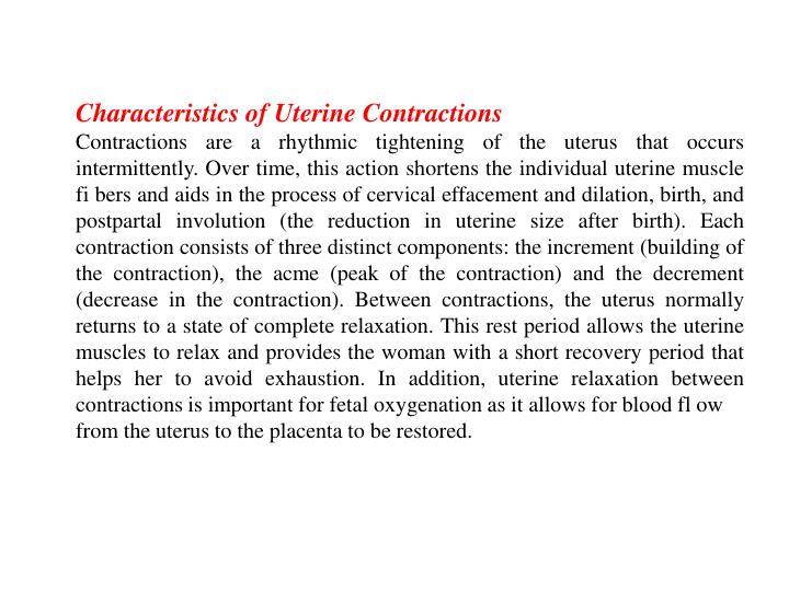Characteristics of Uterine Contractions