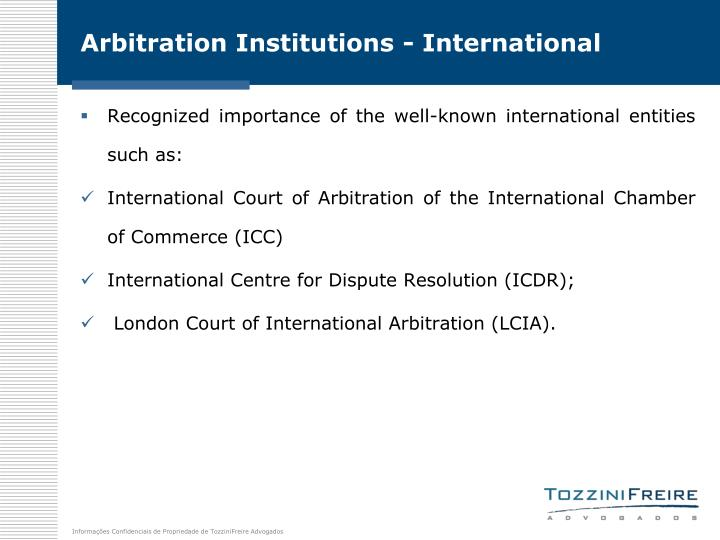 Arbitration Institutions - International