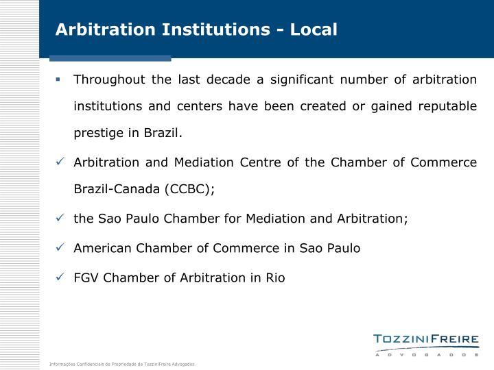 Arbitration Institutions - Local