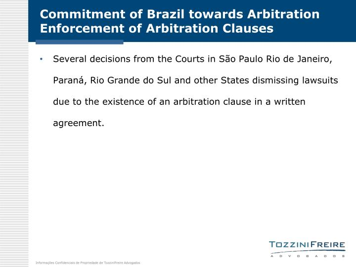 Commitment of Brazil towards Arbitration