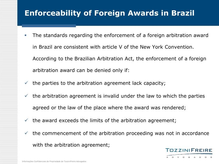 Enforceability of Foreign Awards in Brazil