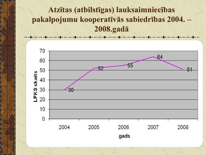 Atzītas (atbilstīgas) lauksaimniecības pakalpojumu kooperatīvās sabiedrības 2004. – 2008.gadā